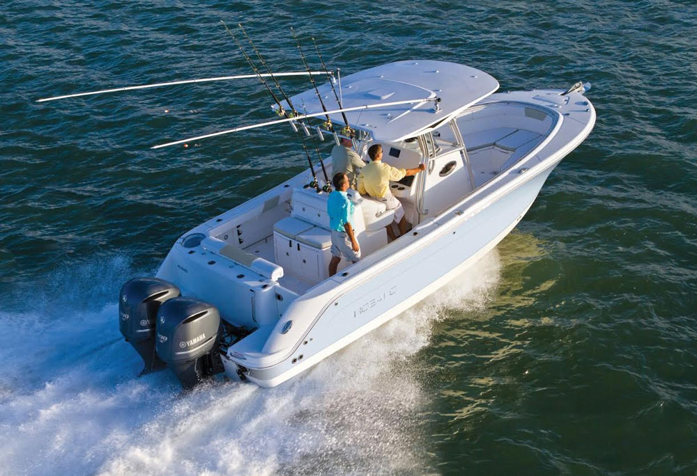 With a pair of Yamaha F300 V6 outboards on the transom, the Robalo R300 has plenty of pep.