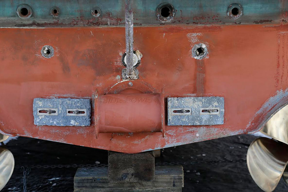 Bow thrusters are usually mounted in a structural fiberglass tube in the bow of a boat, while stern thrusters (as seen here) are often mounted in a tube on the external surface of the stern.