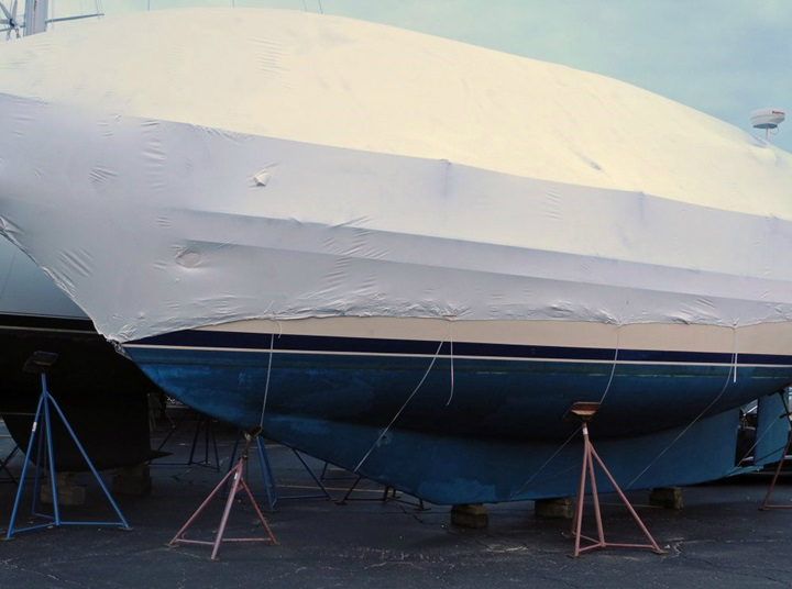 Who's going to build the frame for your winter cover and install the tarps or shrink-wrap—you or your boatyard? Ed Sherman photo.