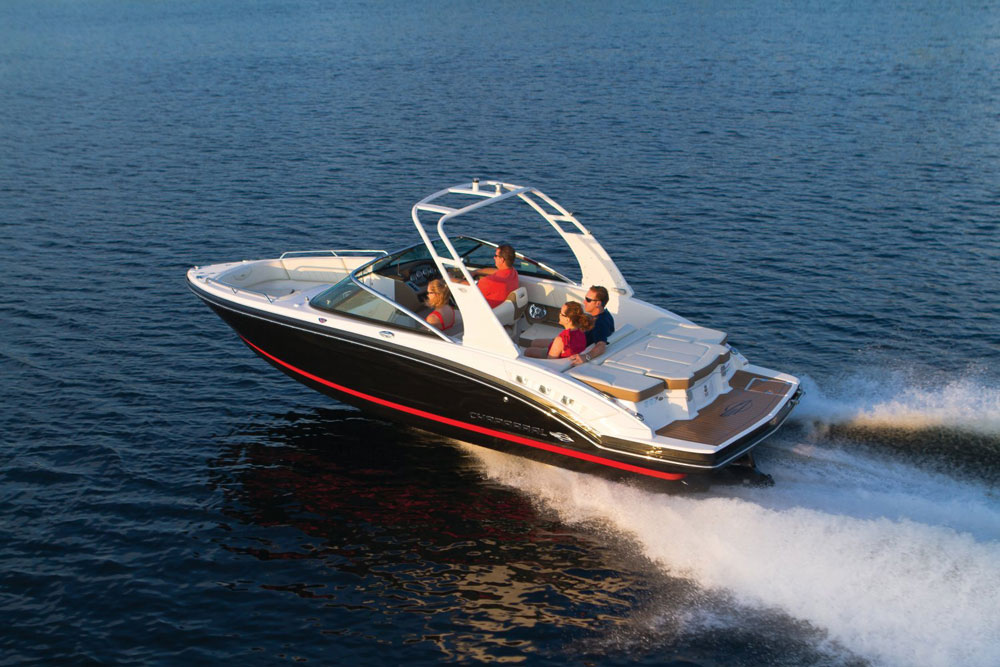 Chaparral plans to offer Surf Gate technology on its 246 SSI, 227 (shown) and 257 SSX runabouts, and the 244 and 264 Sunesta deck boats.