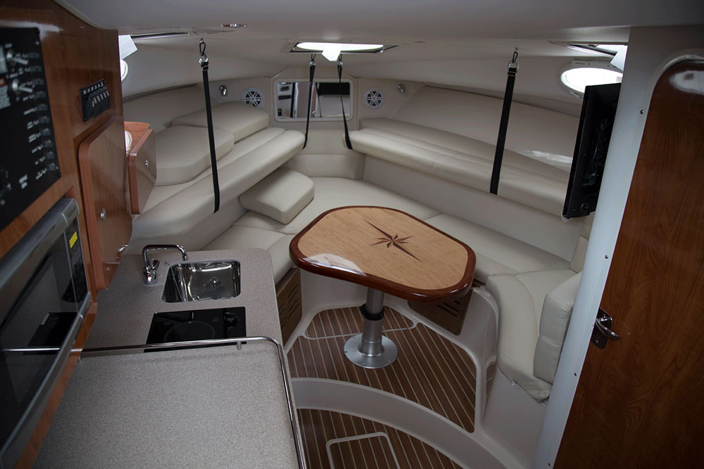 The cabin is huge for a boat classified as a walkaround.