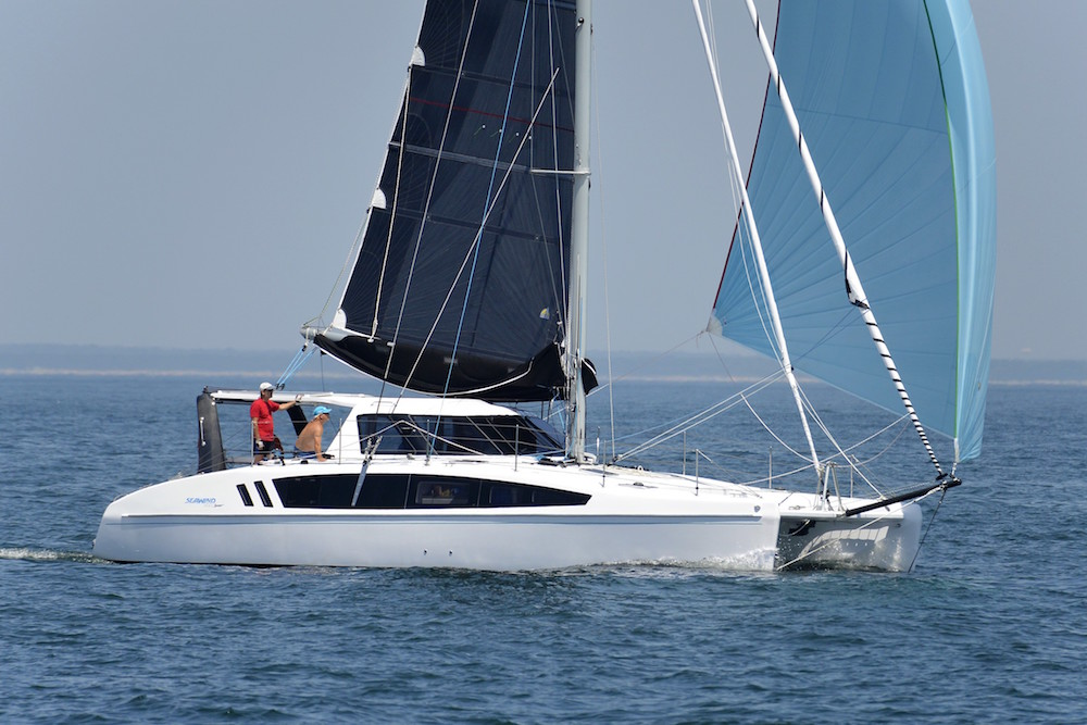 Providing extra power, the Seawind 1190 S can fly roller-furled jib or screecher, or asymmetrical spinnaker.