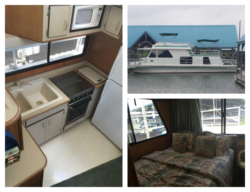 This used 2001 Gibson 44 Houseboat measures 44' in length and is listed for $69,950. It includes one master stateroom with an en-suite bath, and one lower cabin with two full beds. View the full listing on boats.com.