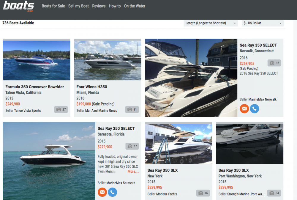 A site like boats.com attracts a high volume of visitors because it features hundreds if not thousands of models in popular boat types such as bowriders.