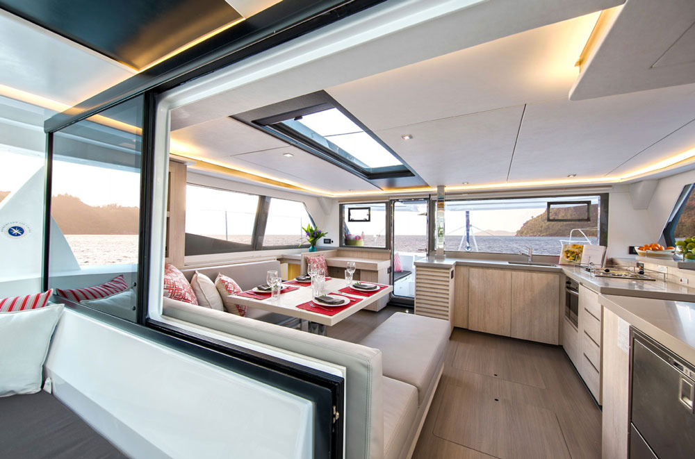Grey Corian countertops complement the stainless-steel refrigerator drawers and the cabin sole is a couple of shades darker than the cabinetry. For anyone who thinks of catamarans as utilitarian and plain should take a look at the luxe styling of the Leopard 45, because there's nothing stark about it.