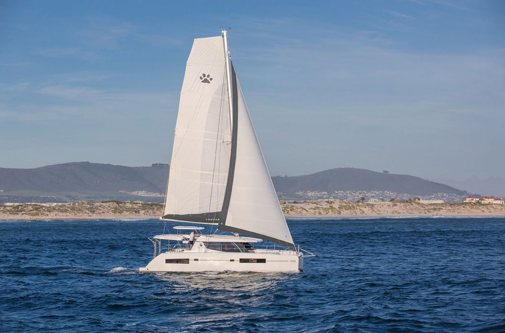 Gone are the swoopy lines and softened bulkheads; the Leopard 45 features angular lines both inside and out.
