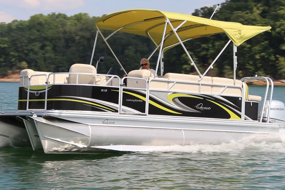 When it comes to pontoon boats, light weight can be a good thing. At cruising speed with the BF100 you can expect to get five or six MPH.