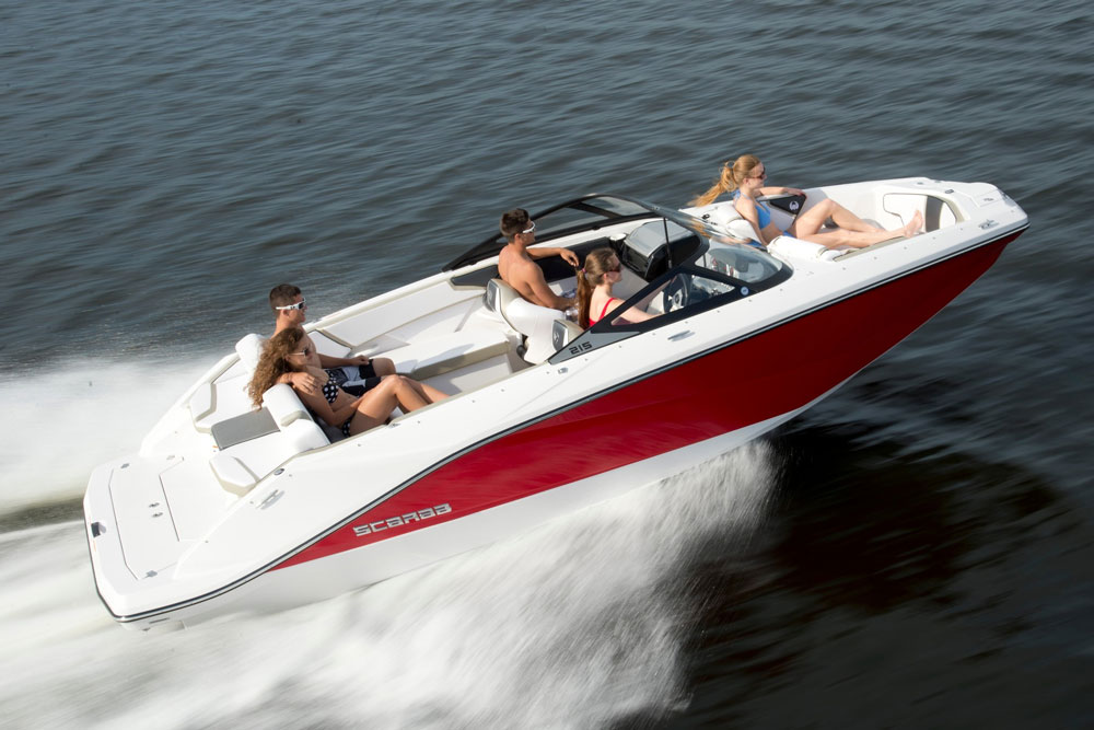 The Scarab 215 is available in four trim levels—base, H.O. Platinum, and H.O. Impulse.