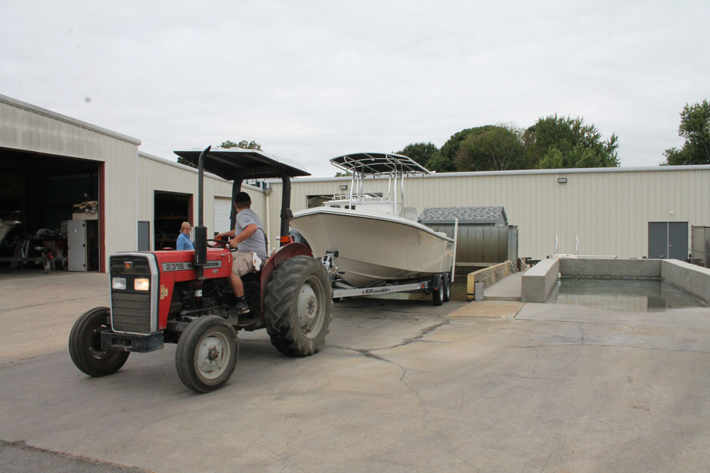 The 8,000 gallon test tanks have a depth of four feet, and are inclined so trailer boats can be easily backed into them.