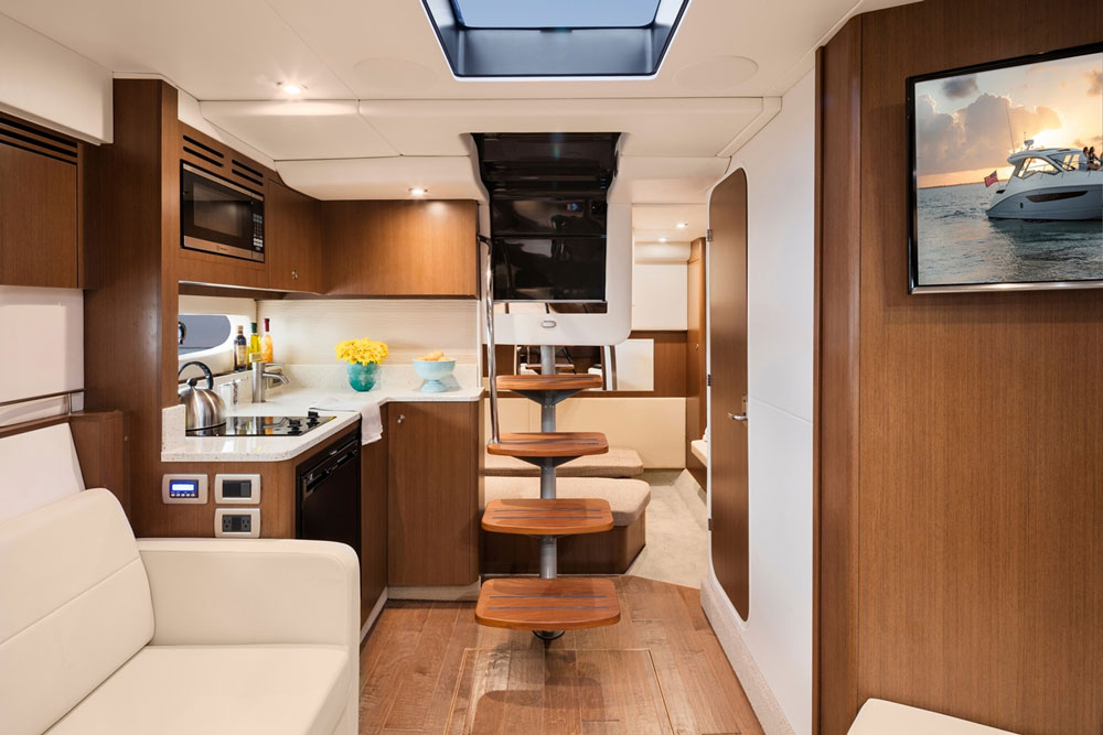 The standard interior on the Sundancer 35 Coupe is finished in chestnut, but cherry and pecan are both options.