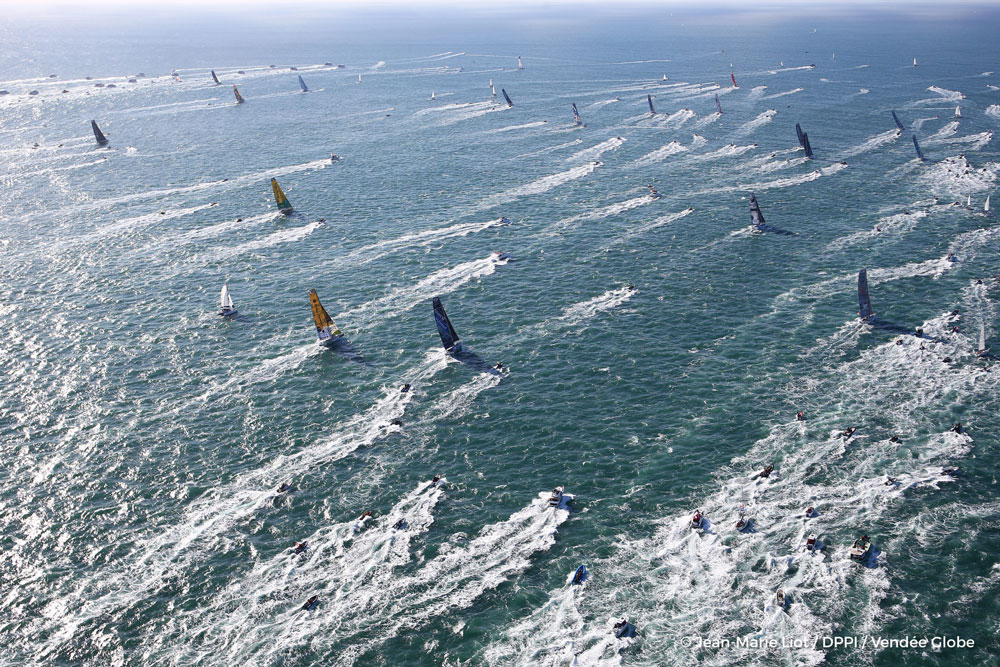 Aerial start of the Vendee Globe, in Les Sables d'Olonne, France, on November 6th, 2016. Photo by Jean-Marie Liot/DPPI/Vendee Globe