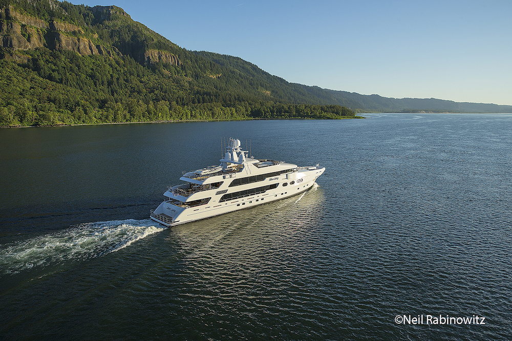 The latest Christensen yacht to be launched, Silver Lining runs toward the mouth of the 1,200 mile long Columbia River, past Vancouver, Washington.