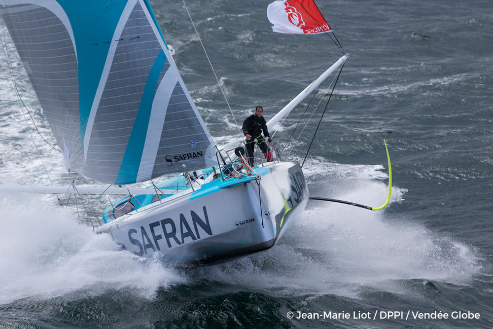 Morgan Lagraviere (FRA) onboard IMOCA Safran training in Les Sables d'Olonne, off Groix, South Brittany, on April 15, 2016. Photo by Jean Marie Liot/DPPI/Vendee Globe.