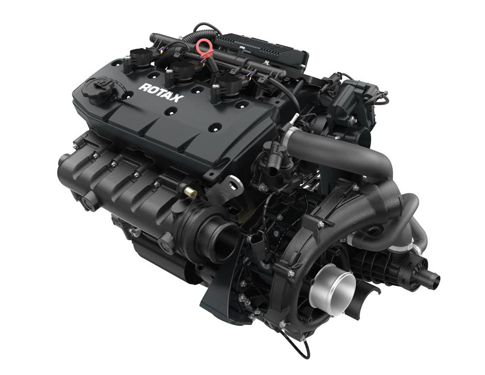 BRP says the supercharged and intercooled ACE engine makes 15 percent more power than the Rotax 1503 4-TEC engine it replaces without being larger or heavier than that engine.