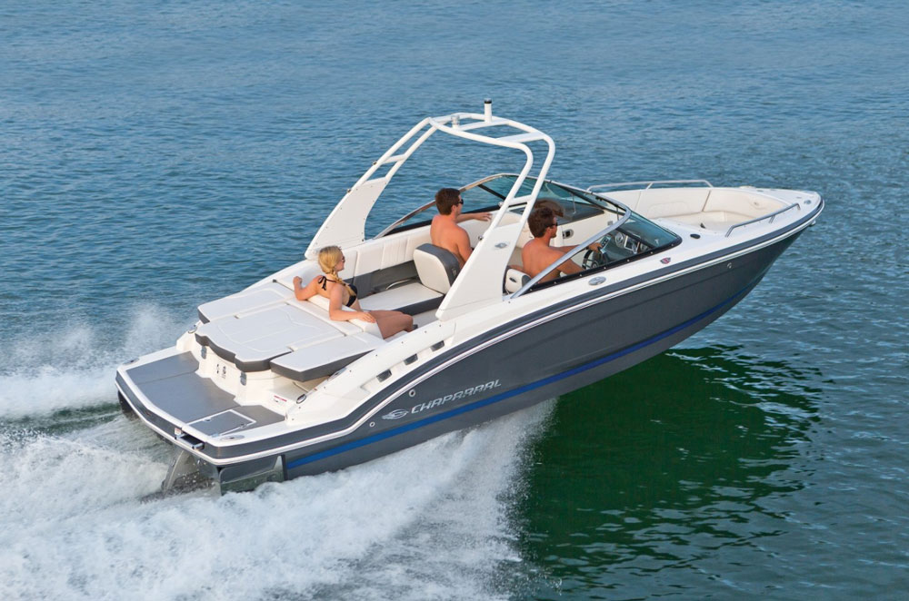 Visible at the boat's transom, the Surf Gate adds a whole new dimension to the Chaparral 227 SSX.
