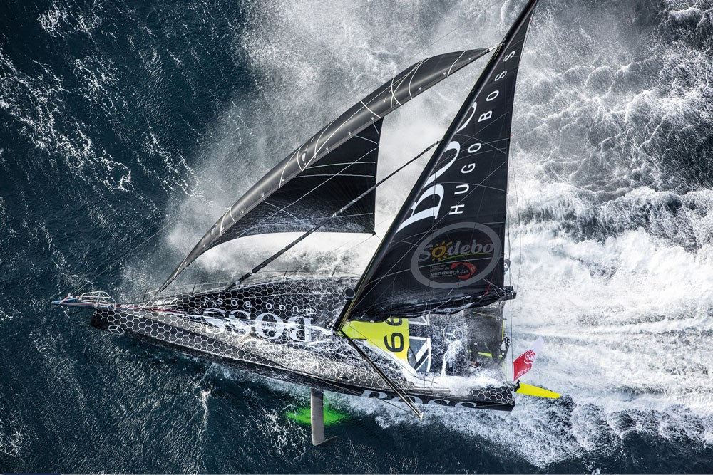 The IMOCA boat Hugo Boss, skipper Alex Thomson (GBR), while training solo for the Vendee Globe 2016, off England, on September 16, 2016. Photo by Cleo Barnham/Hugo Boss/Vendée Globe.
