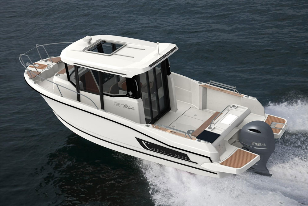 The sport version of the Jeanneau NC 795 has more of an angling angle, with a walkaround cabin, rod holders, and an aft steering station.