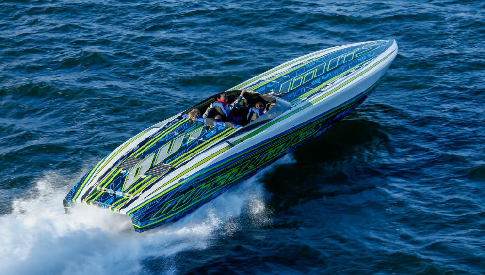 The latest SV 50 is one of the fastest open-cockpit sportboats built by Outerlimits. Photo by Halsey Fulton.