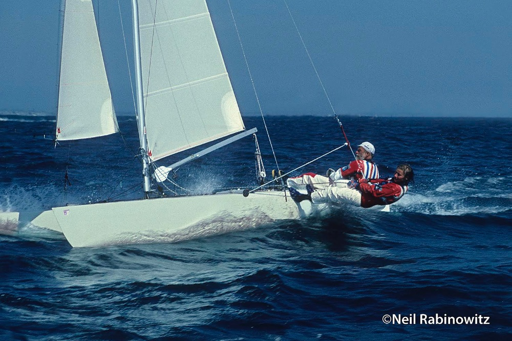 Paul and Trine Elvstrom in Tornado at 1984 Olympic Games