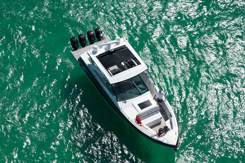 One of the most unique aspects of the 430 SSC's design is a portside walkthrough that leads up to the bow.