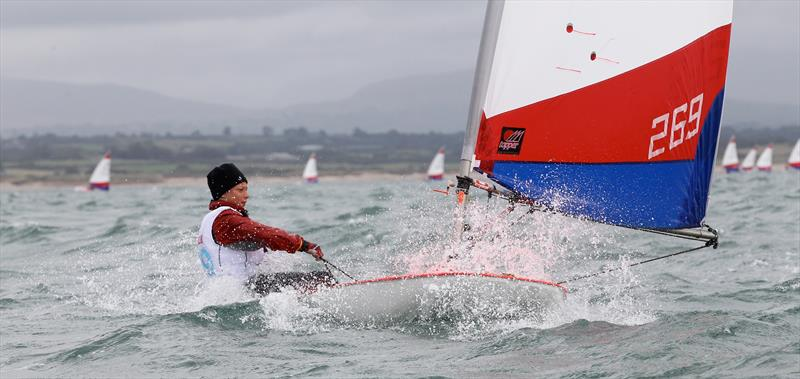 En route to winning the 2016 Topper World Championships in Ireland, Elliott Kuzyk sails downwind on a breezy day.