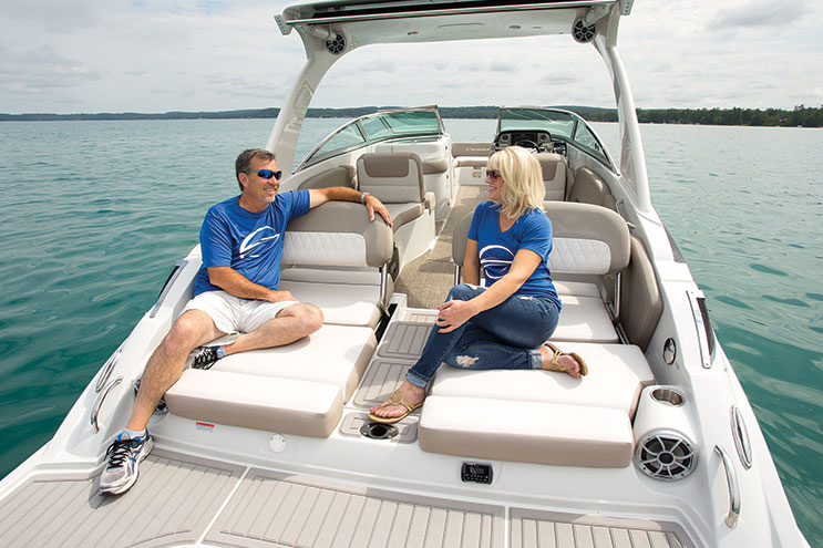 Shifting the outboard aft gives designers a whole new way to utilize the stern of the Crownline E29 XS.