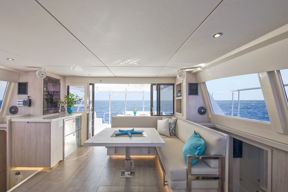 A spacious feeling and lots of elbow room is one of the big perks of spending time aboard a power catamaran.