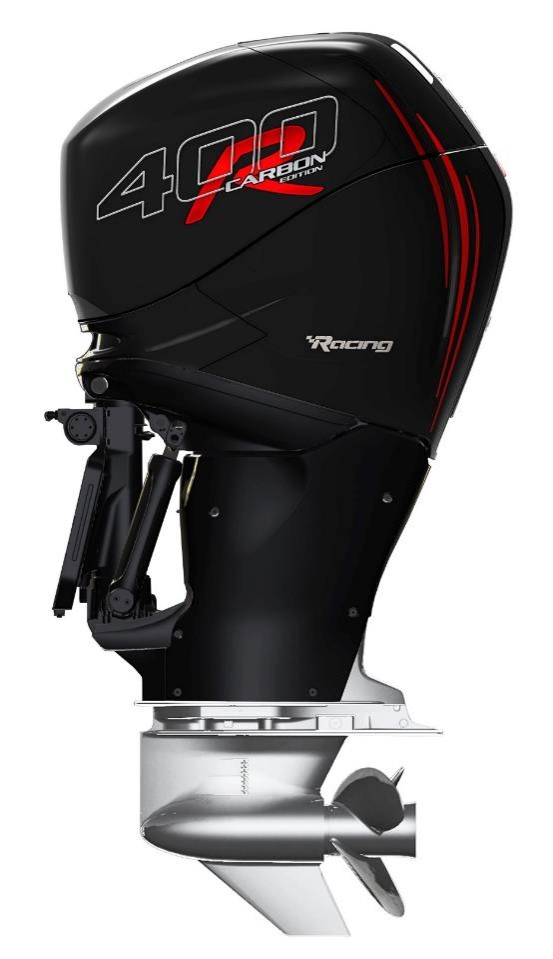 Mercury has jazzed up the 400R Verado outboard by crafting exterior elements with high-tech carbon fiber composite. Nice new look. Mercury photo.