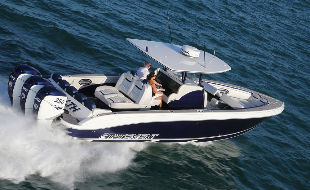 According to Statement Marine's Craig Barrie, the company is closing in on center console No. 100. This 38-footer was delivered to Walter and Donna Molosh during the Florida Powerboat Club's Key West Poker Run in November 2016.