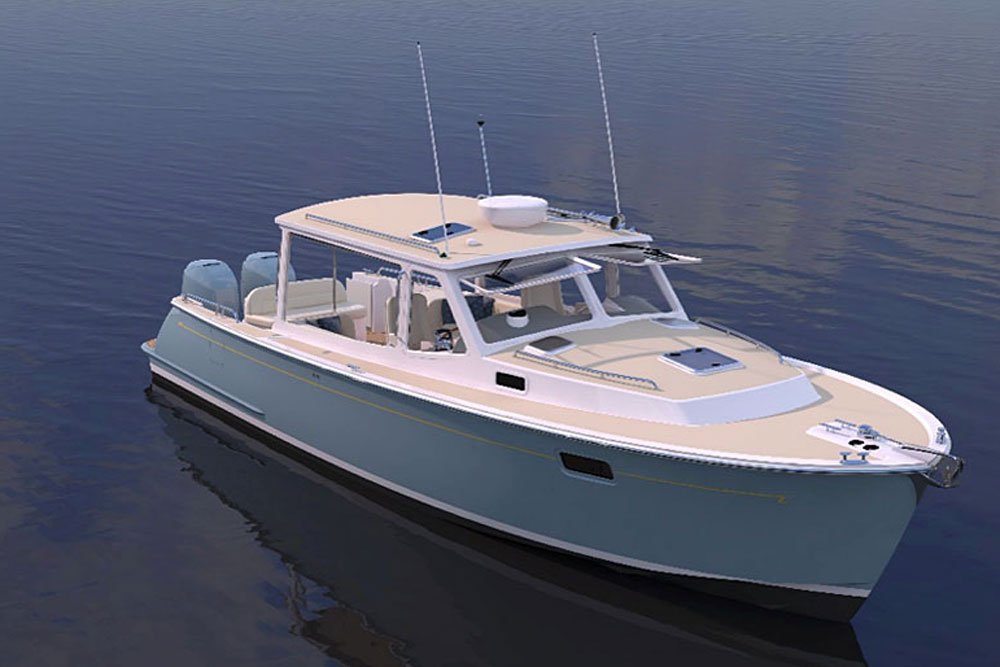 From the transom forward the MJM 35z still has a traditional Downeast look.