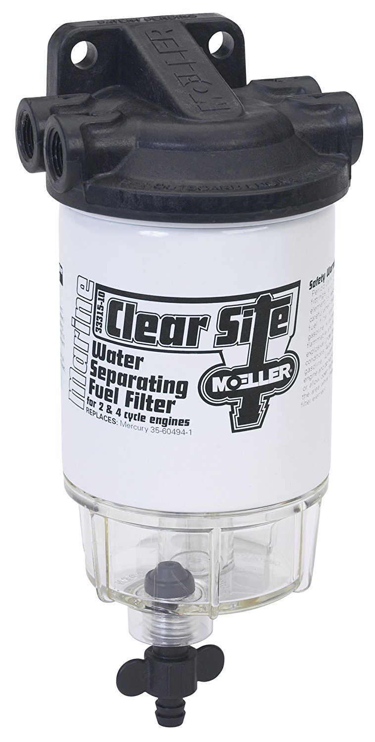 This Moeller Clear-Site water separator and filter allows you to see any water settled into the bottom of the clear plastic fuel bowl, and has a large opening valve to drain the water out. However, depending on the boat and fuel system arrangement, such filters may not be compliant with USCG or ABYC standards.