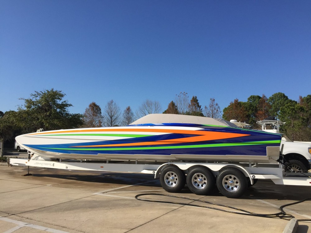 Ready for the installation of its Mercury Racing Verado ROS outboard engines, Matt Rice's Skater 368 catamaran arrived at Grant's Signature Racing last month.