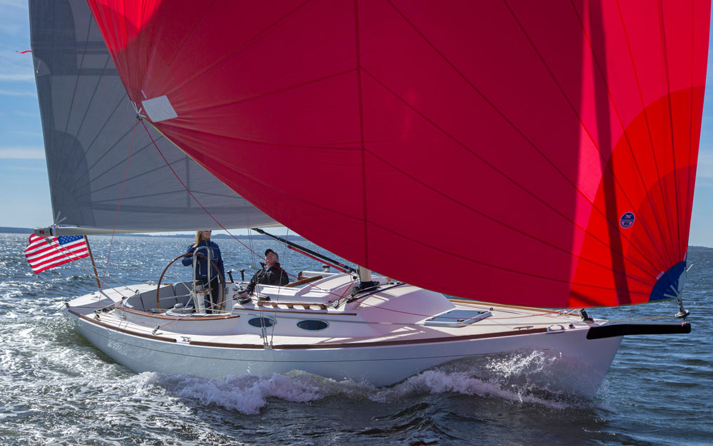 With a double-ended mainsheet to control the full-roach mainsail, the Alerion Sport 30 is easy to single-hand—no crew necessary.