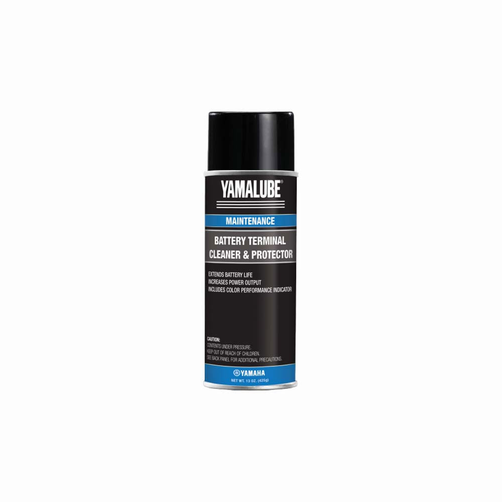 Consider using a battery-specific maintenance product like Yamalube Battery Cleaner & Protector, which removes corrosive build-up on battery terminal posts to help increase power output and extend battery life.