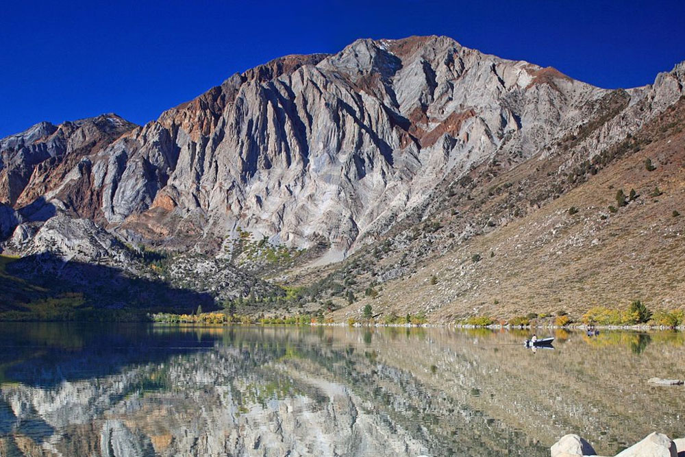 Though this lake is quite small, the scenery at Convict Lake makes traveling here well worthwhile. Photo by Frank Kovalchek.