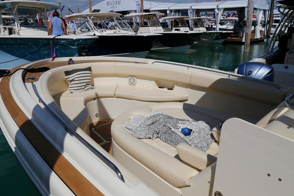 Vinyl-clad foam bolstering around the bow area gives it a safe, secure, and luxurious feeling.