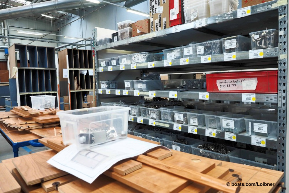 Lean manufacturing requires clean and organized shelves with parts sorted by bin number. Photo by Dieter Loibner.