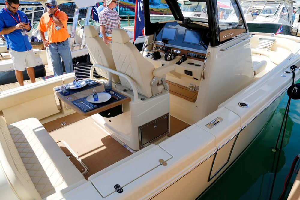 The helm seats on the Catalina 30—two bucket-style chairs with flip-up bolsters—are among the most comfortable we've ever parked our back ends in.