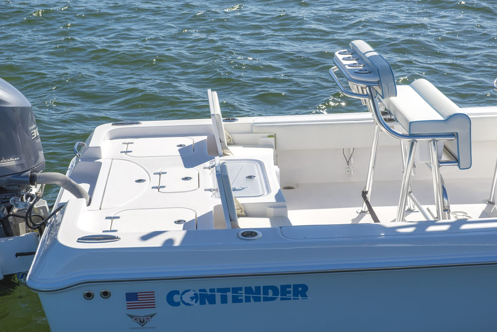 The aft deck is roomy enough for a pair of anglers to pitch their lures.