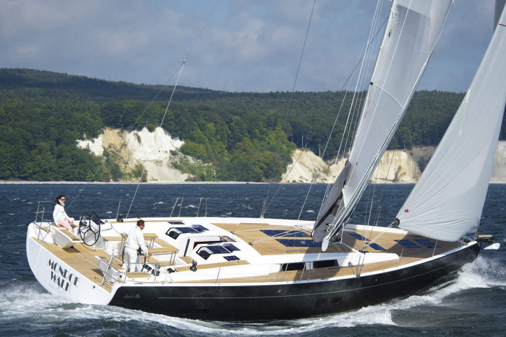 The design firm Judel Vrolijk & Co developed clean and modern lines for boats like the popular Hanse 575. Photo courtesy of Hanseyachts.