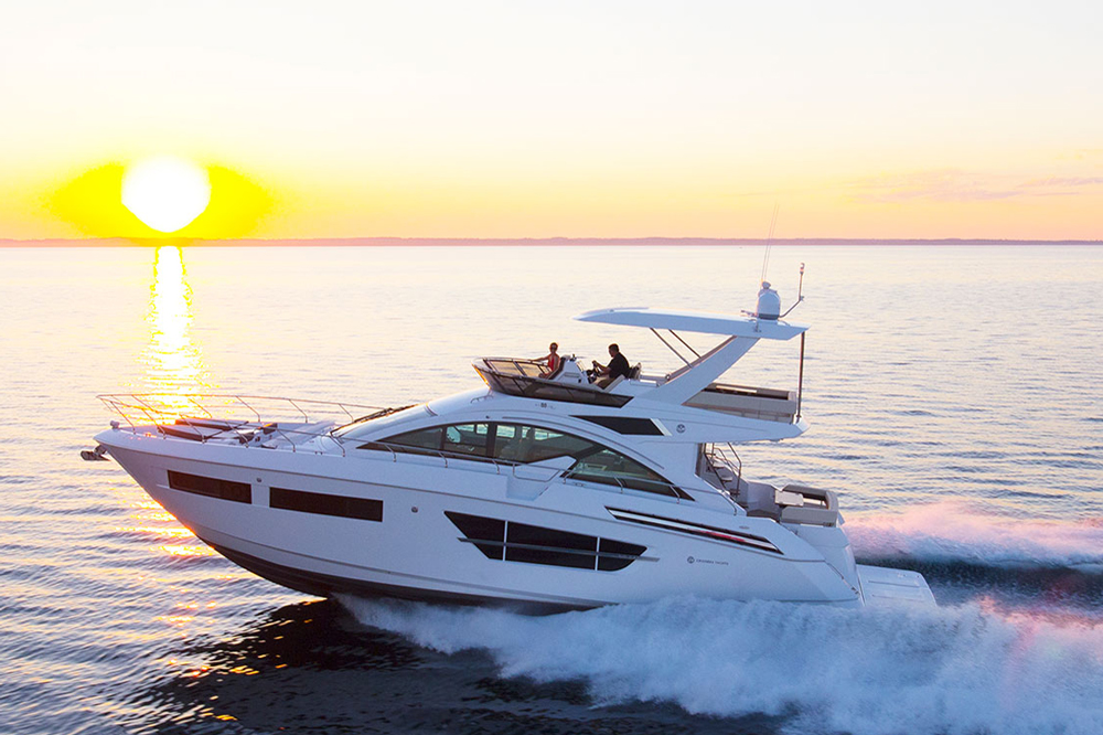 The flying bridge on the 60 Cantius Fly has more than enough room for the crew to enjoy sunshine and salty breezes, whether underway or swinging on the hook.
