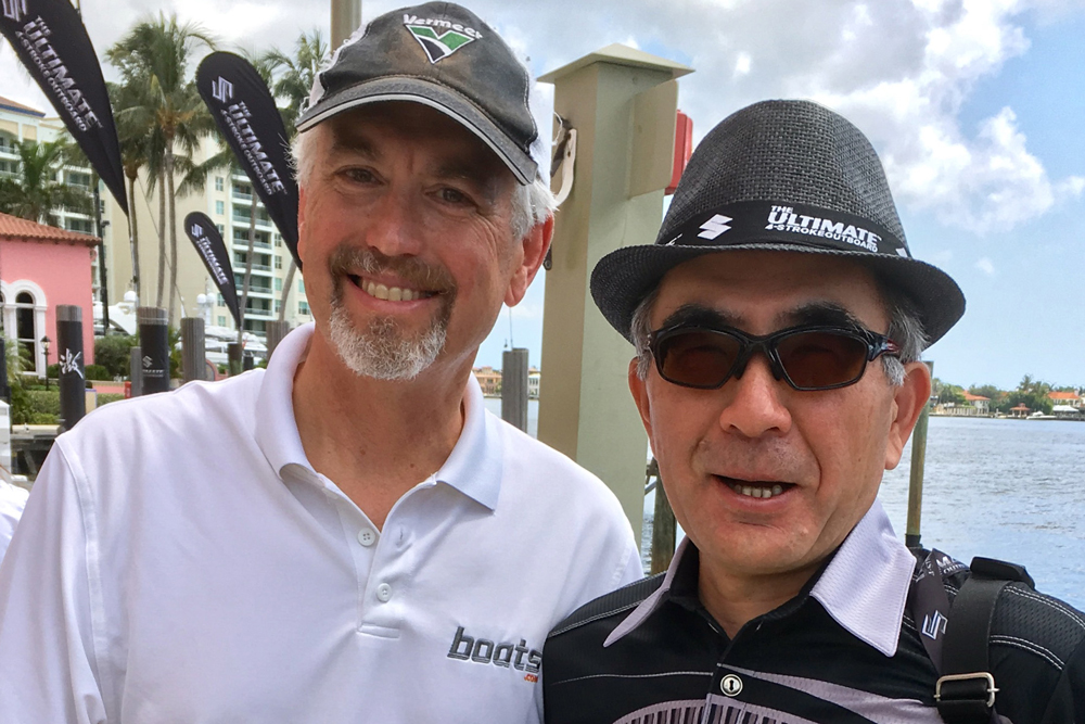 The boats.com Outboard Expert Charles Plueddeman meets Toshihiro Suzuki, the CEO of Suzuki Motor Corporation.