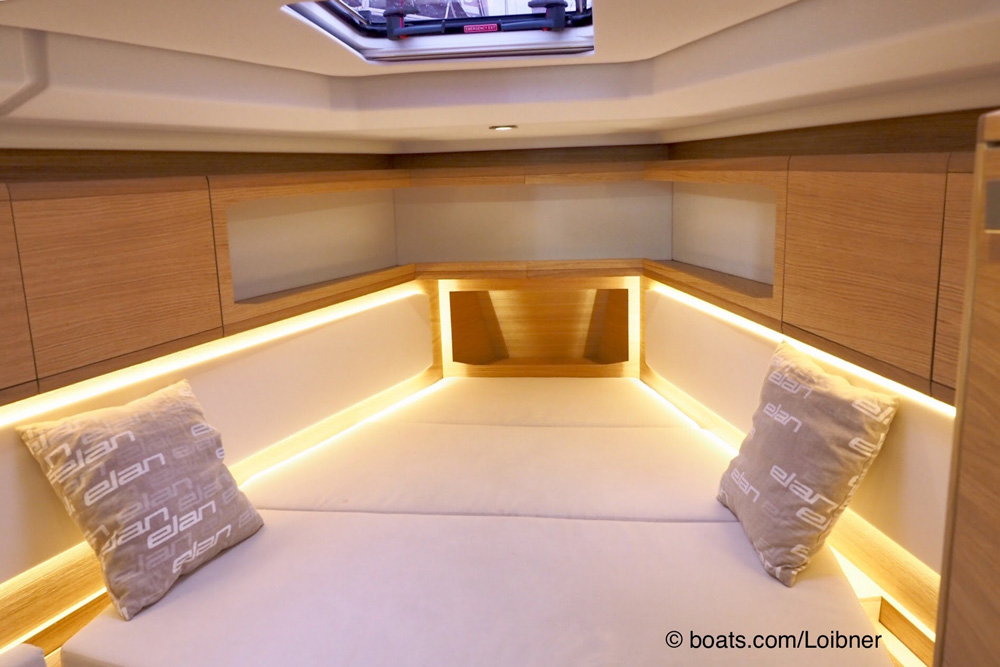 The owner's cabin forward benefits from numerous storage cabinets and shelves and some creative mood lighting.