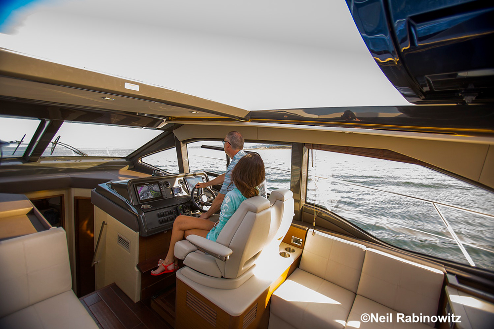 The massive sunroof, which slides open at the press of a button, is a feature that catches the eye of many boaters.