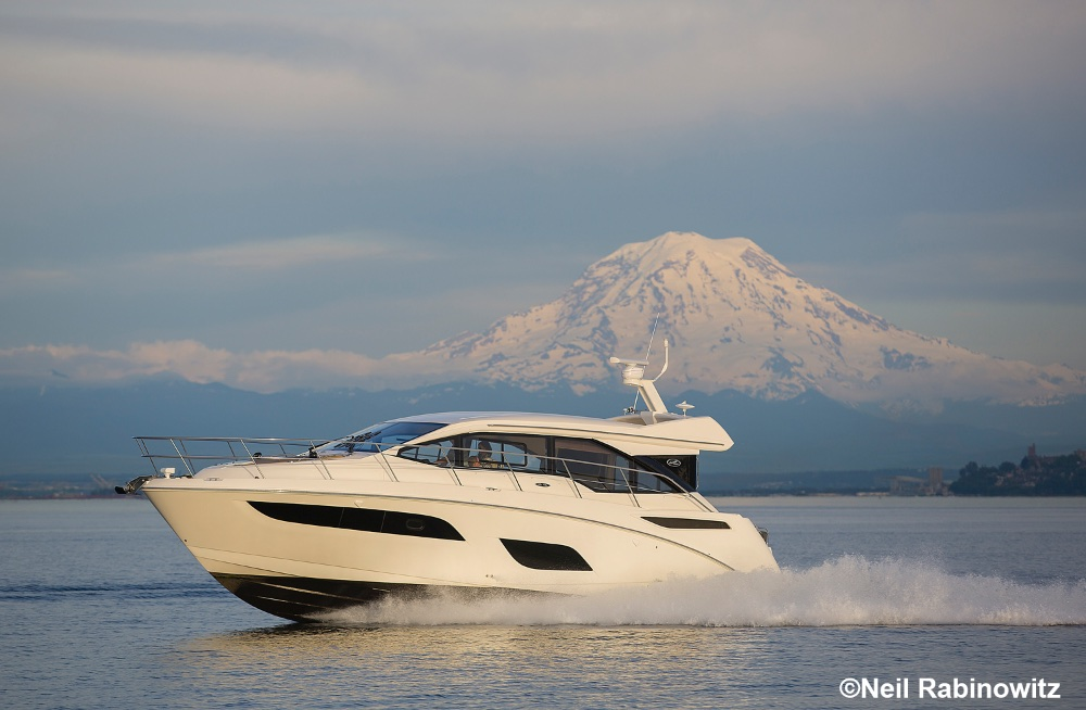 Mount Rainer presents a dramatic backdrop for cruisers on south Puget Sound. Neil Rabinowitz photo.