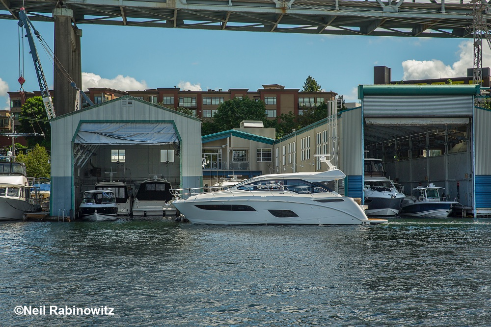 Lake Union Sea Ray's flagship store features two floating showrooms and a wide array of cruising boats and yachts. Neil Rabinowitz photo.