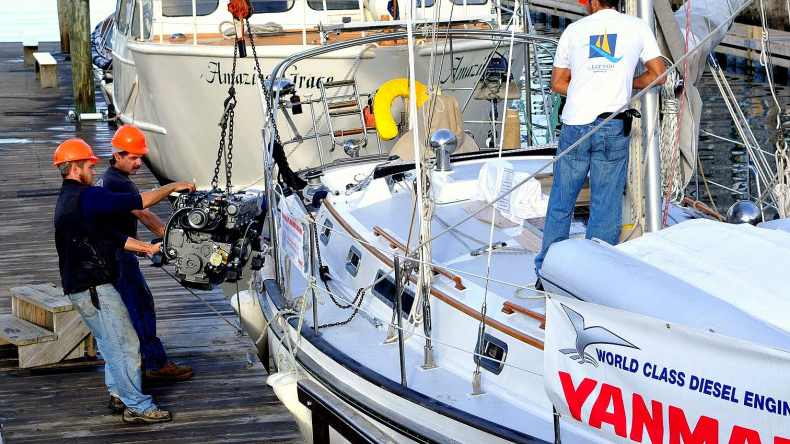 Sailboat owners often replace their original gasoline engines or older diesels with smaller, lighter modern diesels. Photo courtesy of Oldport Marine Services.