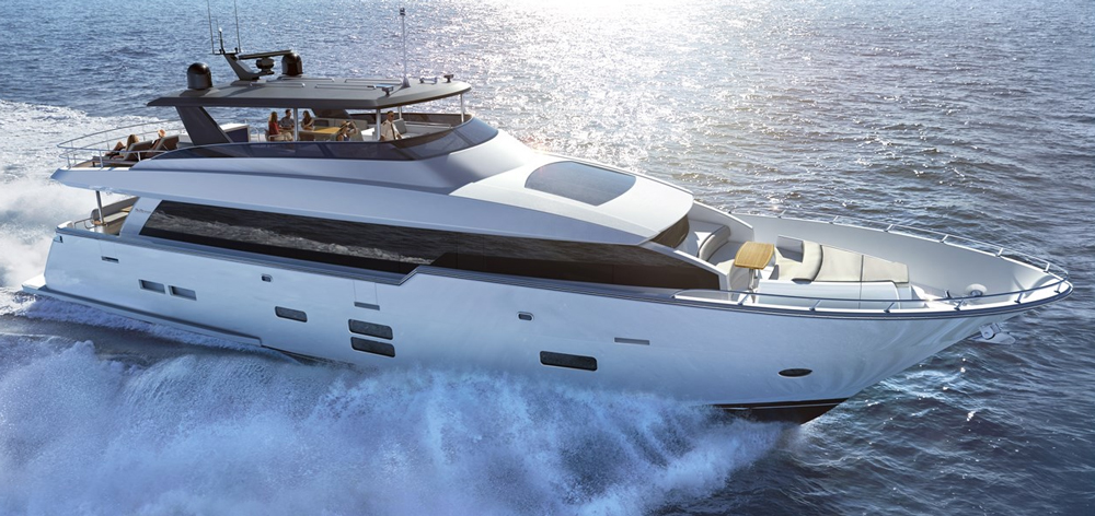 The Hatteras 90 is the newest model in the builder's Motor Yacht series, which offers larger models than its Convertible and Express series.