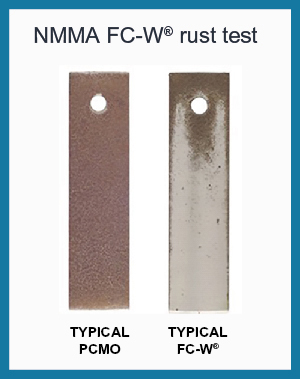 These steel coupons have been subjected to an NMMA standard corrosion test. The coupon on the left was protected by automotive oil, the coupon on the right by a quality FC-W marine oil.