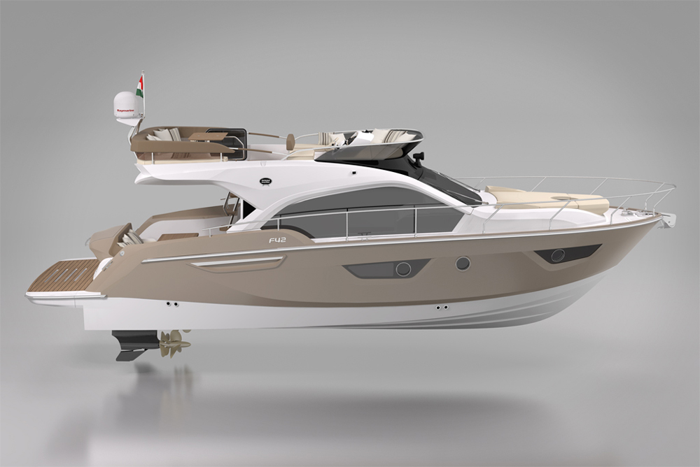 The Sessa F42 flybridge model is another example of styling that won't be found elsewhere.